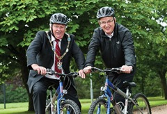 Lord Mayor Robert Turner Armagh City and District Council and Transport Minister Danny Kennedy at the launch of the Department for Regional Development Action Plan for Active Travel in Northern Ireland.