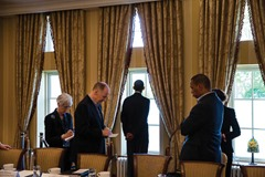President Barack Obama waits with advisors before a bilateral meeting during the G8 Summit at the Lough Erne Resort in Enniskillen, Northern Ireland, June 18, 2013. Pictured, from left, are: Wendy Sherman, Under Secretary of State for Political Affairs; National Security Advisor Tom Donilon; President Obama; Rob Nabors, Deputy Chief of Staff for Policy; and Caroline Atkinson, Special Assistant to the President for International Economic Affairs. (Official White House Photo by Pete Souza) 