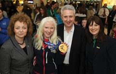©Press Eye Ltd Northern Ireland - 20th March 2014 Mandatory Credit -  Darren Kidd /Presseye.com    Kelly Gallagher winner of Britain's first ever Winter Paralympic gold with victory in the super-G event in Sochi returns home to Belfast.  Sports Minister Carál Ní Chuilín, The Shadow Secretary of State for Northern Ireland, Ivan Lewis and Sport Northern Ireland Chief Executive, Antoinette McKeown with Kelly Gallagher