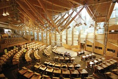 10 AUGUST 2004.THE DEBATING CHAMBER AT THE SITE OF THE NEW SCOTTISH PARLIAMENT COMPLEX AT HOLYROOD, EDINBURGH.PIC-ADAM ELDER/SCOTTISH PARLIAMENT.PHOTOGRAPH(C)2004 SCOTTISH PARLIAMENTARY CORPORATE BODY.