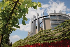 Outside view on the European Parliament building Louise Weiss in Strasbourg - LOW