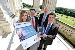 """DEPARTMENT FOR EMPLOYMENT AND LEARNING  Image by: Stephen Hamilton / Press Eye Ltd 30 June 2014  Employment and Learning Minister Dr Stephen Farry pictured with Clare Watson (Cloud Graduate now with CVS Caremark) Simon Cole from Automated Intelligence and Daniel Russell winner of  the Top Student Award and working for Relay Software Ltd.       Farry congratulates Cloud Technology Academy graduates   Employment and Learning Minister Dr Stephen Farry today hosted an awards ceremony for graduates from the pilot Cloud Technology Academy.  The Cloud Technology Academy trained 14 graduates with the skills and accredited qualifications identified by ICT sector employers for new job opportunities in the growing area of Cloud Technology. The Academy involved 15 weeks training for the trainees at Belfast Met to achieve the HP Accredited Technical Associate qualification. This was followed by a six week work placement with one of the participating companies.   At the ceremony in the Long Gallery at Parliament Buildings, Mininster Farry congratulated the graduates on completing the Academy, and said: """"The Cloud Academy is an excellent example of how my Department is supporting graduates to find employment. Officials from Assured Skills Branch have worked closely with a group of employers from the ICT sector and Belfast Met to design and deliver this 21 week course to upskill graduates in Cloud Technology.  """"The Academy model has now been in existence for a number of years and has proved very successful. It is now being offered in a number of areas, including Software Testing and Data Analytics, with 96% of graduate's successfully entering employment. It is being developed further to meet employer demands in other sectors. We have a vast wealth of skills and qualifications amongst those who are currently out of work and the Academy model is an effective way of harnessing those skills to grow our local economy.""""  The ceremony was attended by the Academy trainees and their guests,"""