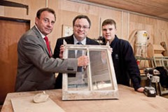 Employment and Learning Minister Dr Stephen Farry today visited apprentices who are honing their skills at the National Trust's Mount Stewart House in Newtownards. Pictured are (l-r) Thompson Keating, SERC Director of Economic and Corporate Development, Minister Farry and apprentice James Harper.
