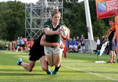 2014 Women's Rugby World Cup Pool B, FFR Headquarters, Marcoussis, Paris, France 5/8/2014 Ireland vs New Zealand Ireland's Alison Miller scores a try  Mandatory Credit ©INPHO/Dan Sheridan