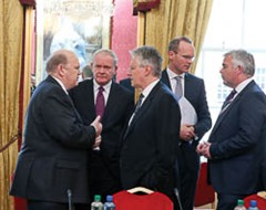 Repro Fee …. 5-7-13 …..North / South Ministerial meeting held in Dublin Castle in Dublin . Pictured at the North South Ministerial meeting being held in Dublin Castle were Northern Ireland First Minister Peter Robinson and deputy first minister Martin McGuinness as they chat to Minister for Finance Michael Noonan.   Pic Maxwell's - No Repro Fee   5-7-13