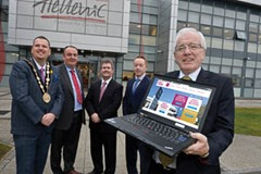 Pictured at the launch of Lisburn City Council's Inward Investment Programme with Alderman Allan Ewart, Chairman of the Council's Economic Development Committee are: (l-r) the Mayor of Lisburn, Councillor Andrew Ewing; Rory Kerr, Plant Manager, Coca-Cola Hellenic NI; the Rt. Hon. Jeffrey Donaldson MP and Graeme Waring, Operations Director, P2V Systems.