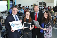 Farry congratulates Code Camp competitors Employment and Learning Minister Dr Stephen Farry has visited this summer's Kainos Code Camp at Belfast Metropolitan College's e3 campus. The Code Camp in mobile app creation is aimed at developing the next generation of digital talent by offering up to 80 places for 17 – 19 year old students. The Camp offers 80 students the chance to work closely with mentors in a real-life software development environment and develop their own Android apps. Prizes are awarded for winning designs. Pictured with the Minister are Laura McKeague from Kainos, Code Camp participant Rachel McCormick from St Louisa's Comprehensive College in west Belfast and Dr Jonathan Heggarty, Head of School for Computing at Belfast Metropolitan College.