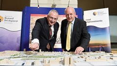 PRESS RELEASE IMAGE 27th January 2015 Mandatory Credit - Picture: Michael Cooper  £125million Plans for new Interchange at York Street move forward as Kennedy launches consultation process   Transport Minister Danny Kennedy (left) with Roy Spiers, Transport NI, Strategic Road Improvement Manager launching the Formal Consultation process for the new road interchange at York Street in Belfast. The project represents a potential investment in the range of £125million to £165million.  Picture: Michael Cooper