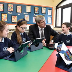 PRESS RELEASE IMAGE  17/12/14: O'Dowd opens new facilities at St Oliver Plunkett Primary School, Beragh  Education Minister John O'Dowd pictured with (left-right) Ellen McCann, Chloe McCartan and Caolan Donnelly at the opening of new facilities at St Oliver Plunkett Primary School, Beragh. Picture: Michael Cooper