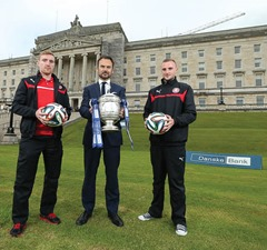 Press Eye - Belfast - Northern Ireland - 6th August 2014 - Picture by Kelvin Boyes  / Press Eye.Danske Bank Premiership season launches at Parliament BuildingsThis Saturday sees the first round of fixtures that herald the start of the 2014/15 Danske Bank Premiership season. To launch the new season, the Northern Ireland Football League chose the iconic location of Parliament Buildings, Belfast, where players, managers and Chairmen from each of the 12 clubs were joined by Danske Bank CEO Gerry Mallon to officially kick-off the new season.Pictured with Gerry Mallon, CEO, Danske Bank are Chris Curran and Jude Winchester from Cliftonville.