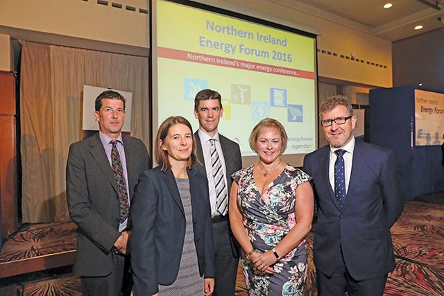 Antony Froggatt, Chatham House; Katherine White, Scottish Government; Nicholas Tarrant, NIE Networks; Jenny Pyper, Utility Regulator; and Ian McCarlie, Pinsent Masons.