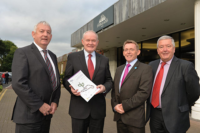 Councillor Seán McPeake, NILGA President; Martin McGuinness MLA, deputy First Minister; Michael McQuillan, Director, Business Institute; Ulster University Business School; and Alderman Alan McDowell, NILGA Vice President.
