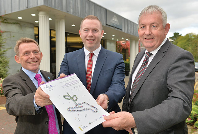 Michael McQuillan, Director, Business Institute, Ulster University Business School; Chris Hazzard MLA, Infrastructure Minister and Councillor Seán McPeake, NILGA President.