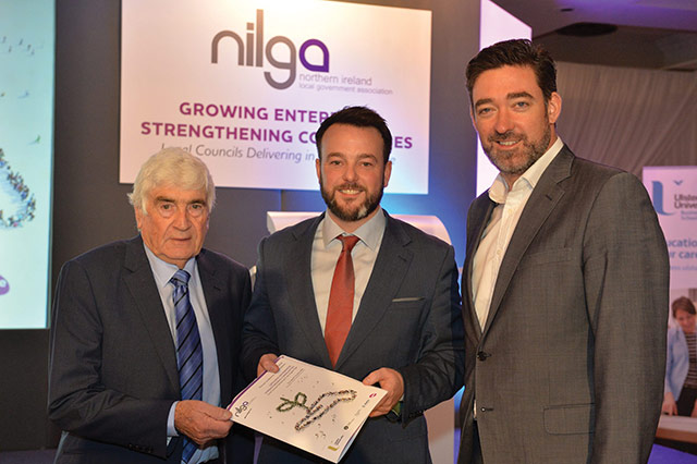 Councillor Dermot Curran, NILGA Vice President; Colum Eastwood MLA, Leader of SDLP and Chair, Committee for Communities; and Jim Fitzpartick, NILGA Conference Host.