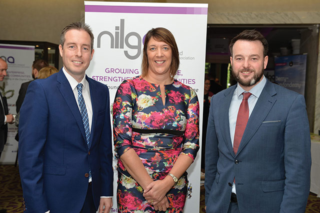 Paul Givan MLA, Communities Minister; Alderman Freda Donnelly, NILGA Vice President and Colum Eastwood MLA, Leader of SDLP and Chair, Committee for Communities.