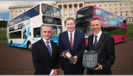 Translink Future Ticketing System (TFTS) will transform the public transport journey experience. Announcing the new system are l-r Chris Conway, Translink Group Chief Executive; Minister for Infrastructure Chris Hazzard MLA and Owen Griffith, Managing Director, Parkeon Transportation.