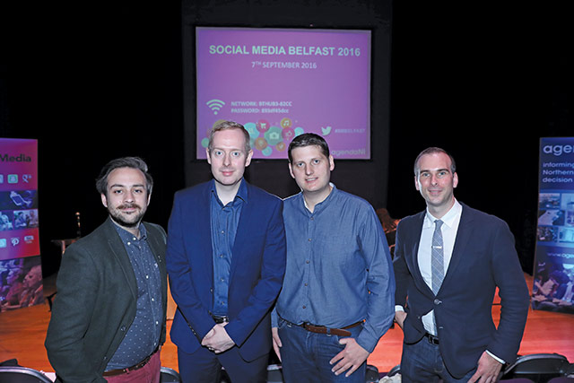 Seán Earley, New/Slang; Paul Coleman, Tourism NI; Stuart Robinson, Cool FM; and Paul McGarrity, Octave Digital.
