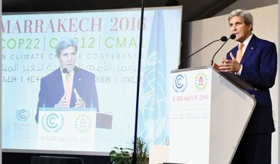 U.S. Secretary of State John Kerry delivers remarks at the 22nd UN Framework Convention on Climate Change Conference of Parties (COP22) in Marrakech, Morocco.