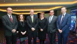 L-R, Professor Goran Strbac, Chair in Electrical Energy Systems, Imperial College London; Carla Tully, President, AES; Patrick McClughan, Head of Corporate Affairs, Gaelectric; Nina Skorupska, Chief Executive, Renewable Energy Association; Mark Norton, Network Planning Manager, EirGrid; Colin Broomfield, Manager of Wholesale Markets, Utility Regulator.