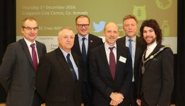 L-R, Martin McKendry, Director, College of Agriculture Food & Rural Enterprise, Gerry Boyle, Director, Teagasc, Roger Wilson, Chief Executive, Armagh City, Banbridge and Craigavon Borough Council, Jonathan Brooks, Head of Division, Agro-food, Trade and Markets, OECD, Richard Halleron, Agricultural Journalist and Councillor Garath Keating, Lord Mayor, Armagh City, Banbridge and Craigavon Borough.