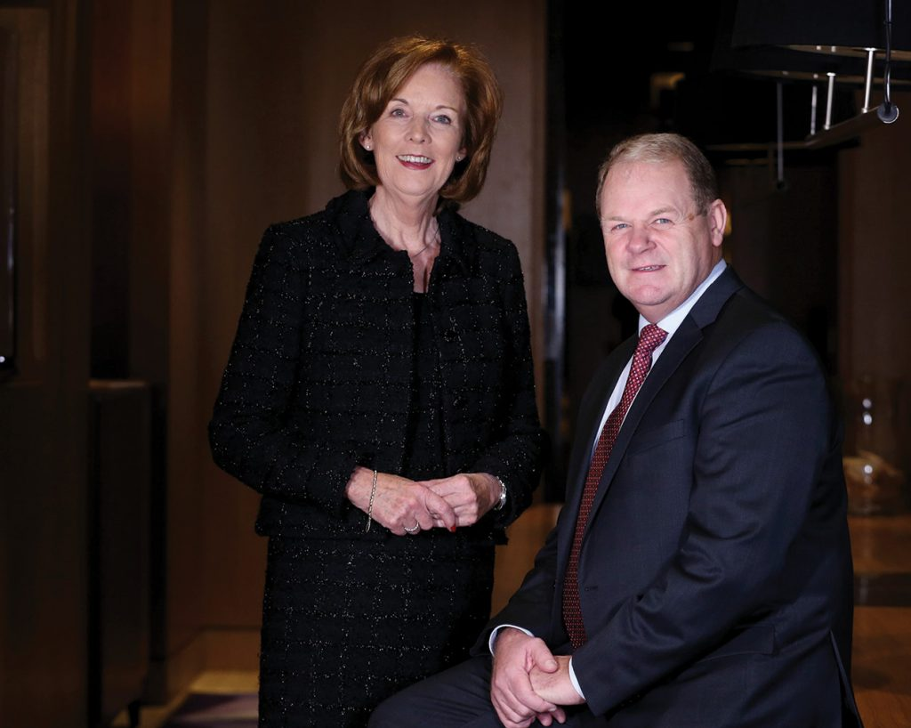 Brian Ambrose OBE, outgoing Chair of Tourism Ireland with Joan O'Shaughnessy, Chair of Tourism Ireland.