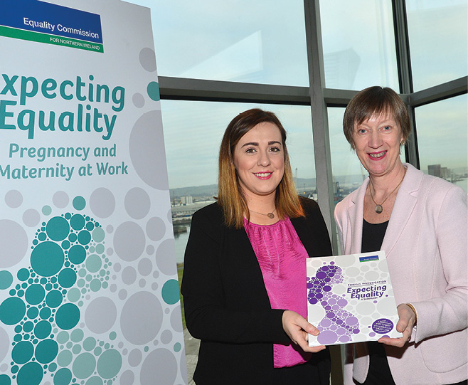 Megan Fearon pictured with Dr Evelyn Collins, Chief Executive of the Equality Commission for Northern Ireland.