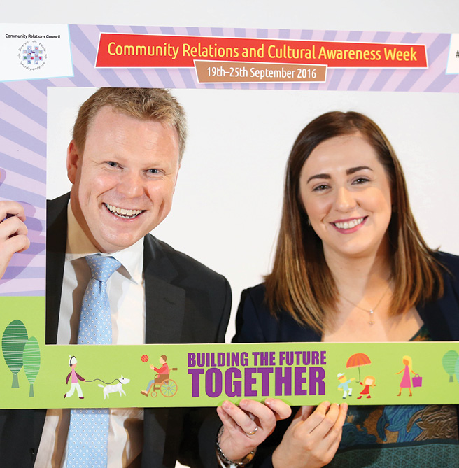 Junior Ministers Megan Fearon and Alastair Ross pictured launching the Community Relations and Cultural Awareness Week.