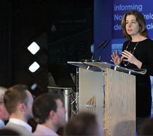Carla Tully, AES, addressing delegates at the Energy Storage Conference.