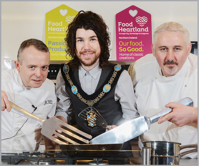 Barry Smyth Chef Lecturer of Southern Regional College with Lord Mayor Councillor Garath Keating and Simon Dougan of the Yellow Door Deli at the recent Food Heartland Inspirational Careers Day.