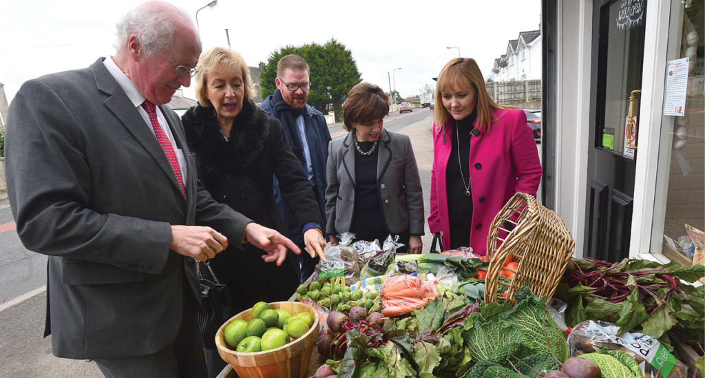 DAERA Minister Michelle McIlveen; Defra Secretary of State Andrea Leadsom; Economy Minister Simon Hamilton; Strangford MP Jim Shannon; and Northern Ireland MEP Diane Dodds pictured in County Down.