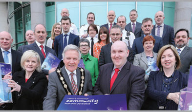 Pictured at the launch of the Lisburn & Castlereagh Draft Community Plan are the Mayor, Councillor Brian Bloomfield MBE; Chairman of the Strategic Community Planning Partnership, Alderman William Leathem; Chief Executive of Lisburn & Castlereagh City Council, Dr Theresa Donaldson and representatives from partner organisations.