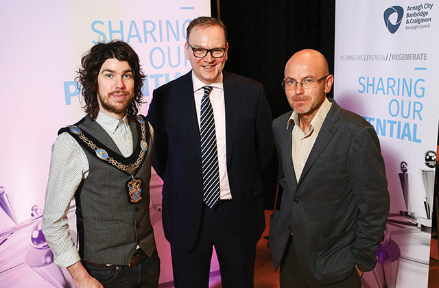 Lord Mayor Councillor Garath Keating, Chief Executive Roger Wilson and entrepreneur Wayne Hemingway MBE at the Sharing Our Potential Conference.
