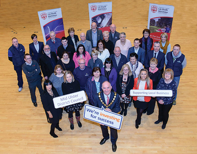 Business Programmes: Councillor Trevor Wilson, Chairman of Mid Ulster District Council with some of the Mid Ulster businesses who received support from the Council's programmes this year.