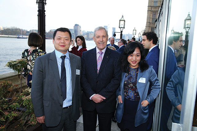 Bingfeng Li and Beihui Miao from Greenland (UK) Investment Ltd with Councillor Uel Mackin, Chairman of Lisburn & Castlereagh City Council's Development Committee.