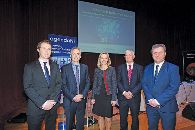 Seamus Leheny, Northern Ireland Freight Transport Association; Glenn Roberts, Deloitte; Marte Gerhardsen, Agenda think-tank, Oslo; David Carson, Deloitte; Professor David Phinnemore, Queen's University Belfast.