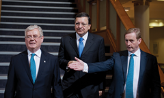 Eamon Gilmore, Irish Deputy Prime Minister and Minister for Foreign Affairs and Trade, JosÈ Manuel Barroso and Enda Kenny (from left to right)