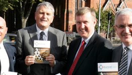 Charter NI Chief Executive Dee Stitt pictured with the then Social Development Minister Mervyn Storey, Health Minister Jim Wells and Regional Development Minister Danny Kennedy.
