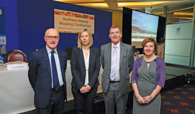 Jamie Delargy, Conference Chair; Jennie Donald, Northern Ireland Federation of Housing Associations; Gerry Flynn, Northern Ireland Housing Executive and Christina Beatty, Sheffield Hallam University.